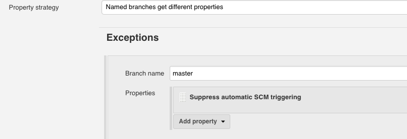 Supress automatic SCM triggering option